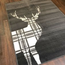Modern Rugs Approx 6x4ft 120x170cm Woven Backed Stag Rug Top Quality Grey Check